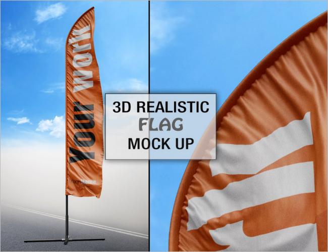 Identity Flag PSD Mockup
