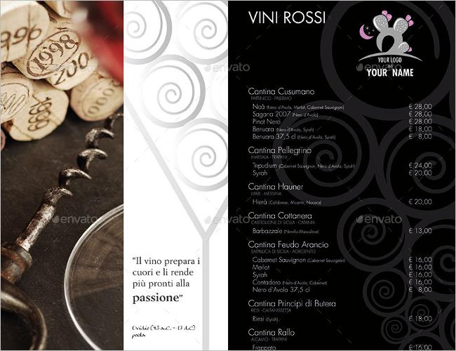 Indesign Wine Brochure List Card