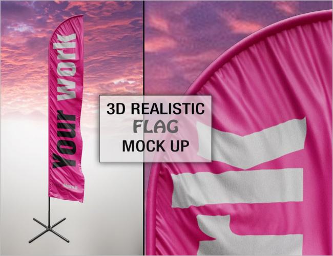 Infographic Flag PSD Mockup