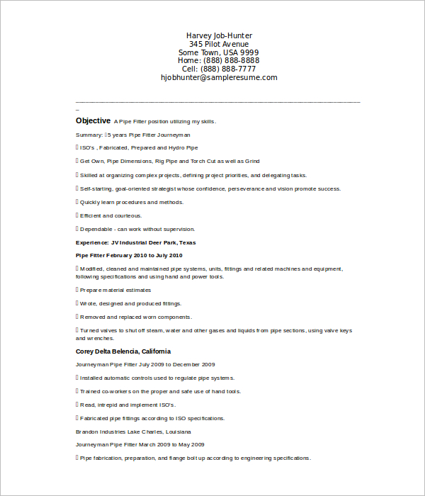 Journeyman Pipefitter Resume Template