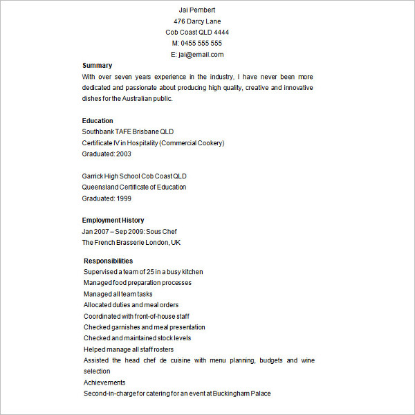 Main Microsoft Word Chef Resume Template