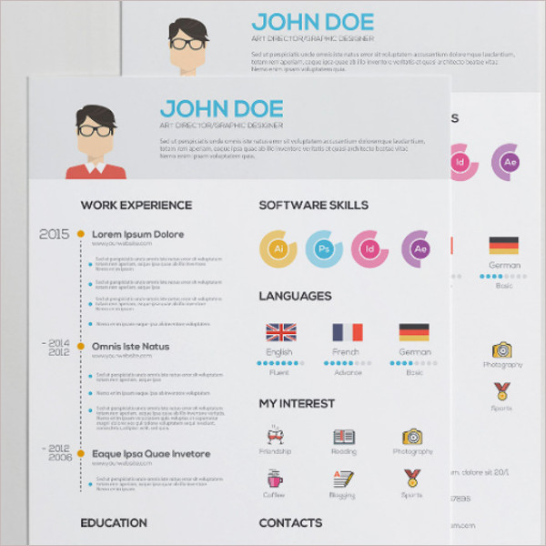 Main Resume with Infographics AI Illustrator Download