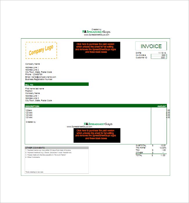 Microsoft Tax Invoice Template