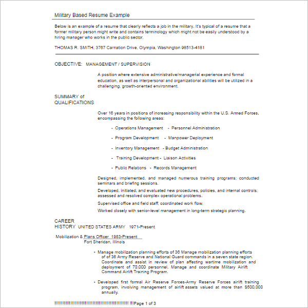 Military Resume Example Template