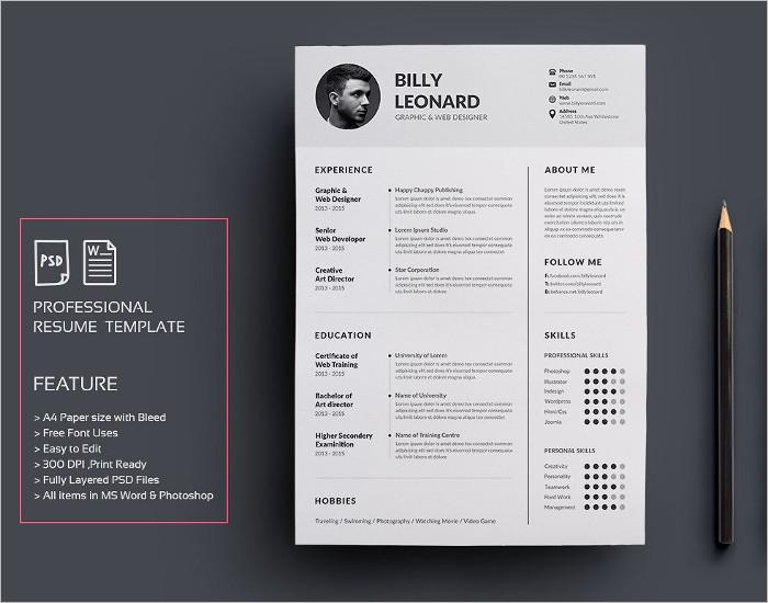 resume templates psd free premium templates