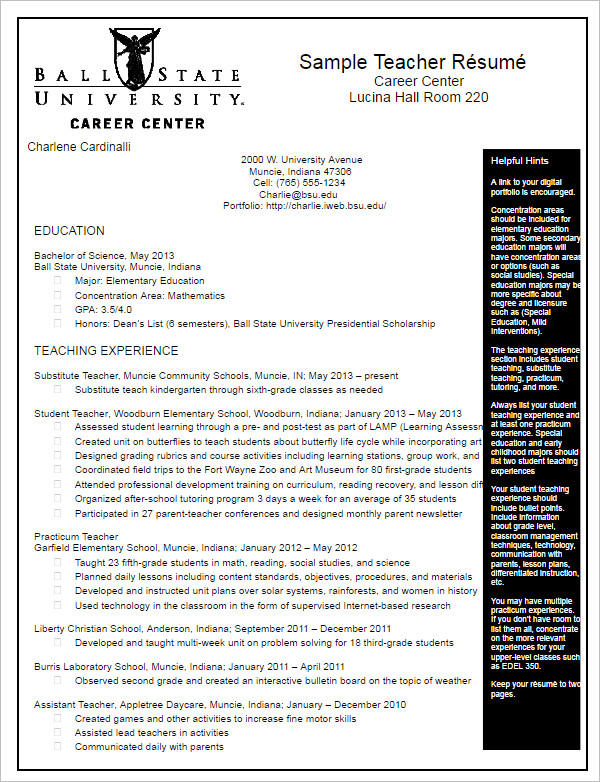 Teacher Resume Templates Free Pdf Word Documents