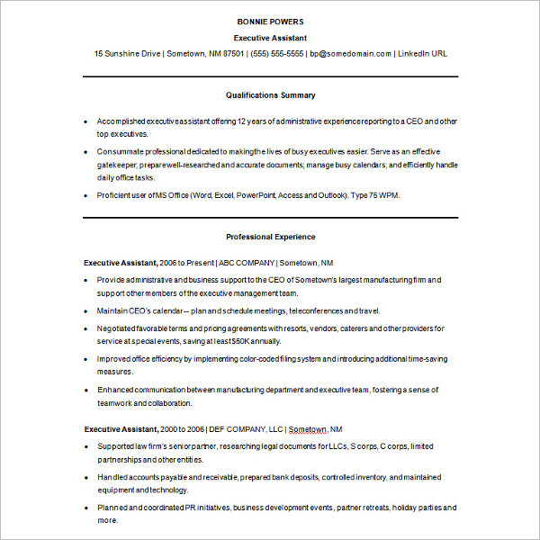 Ms Office Word Sample Executive Resume Template