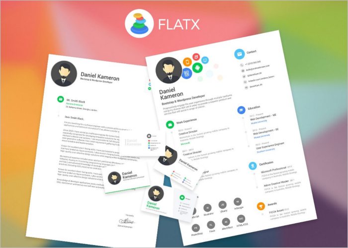 Multi Colour Flat Resume Template