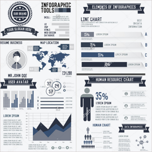 Multi-Corporate Infographic Resume Elements Data Template