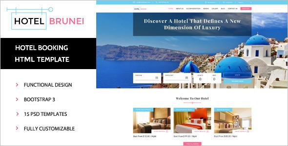 Multi Hotel booking Restaurant website Theme