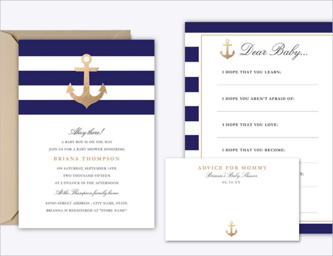 Navy Baby Shower Invitation