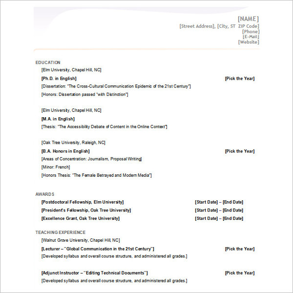 New Ms Office Word 2007 Resume Template