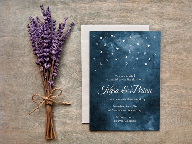 Night Wedding Invitation Card Design