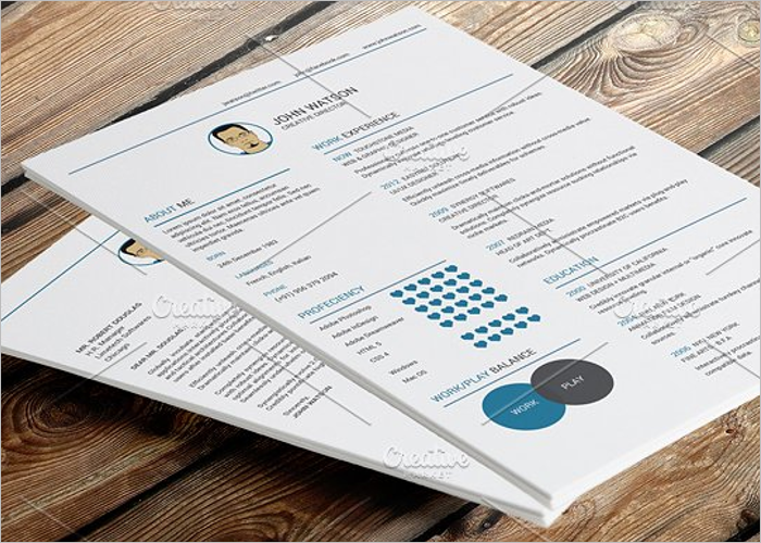 One Page Flat Resume Template
