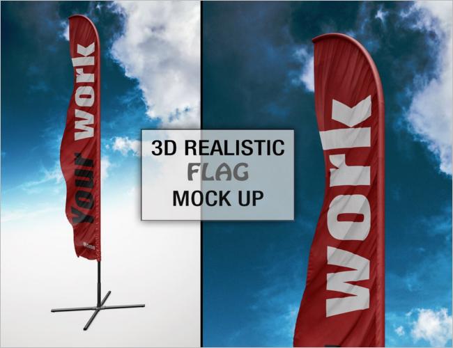 Outdoor Flag Mockup PSD