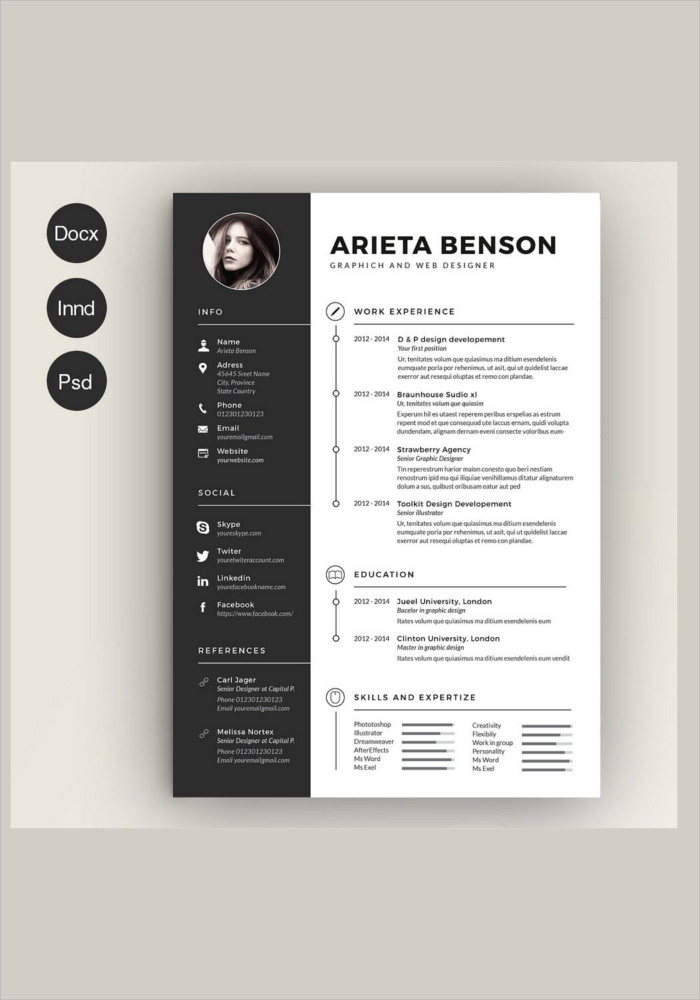 14 creative resume templates free word pdf design formats. Black Bedroom Furniture Sets. Home Design Ideas