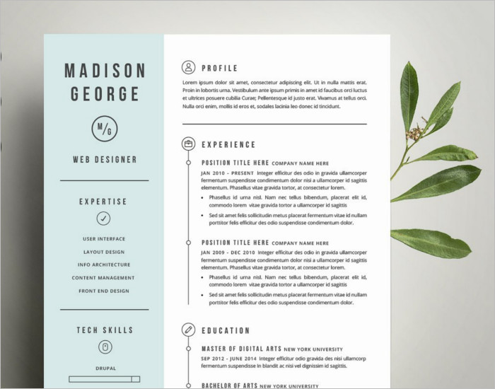 Photoshop Resume PSD Template
