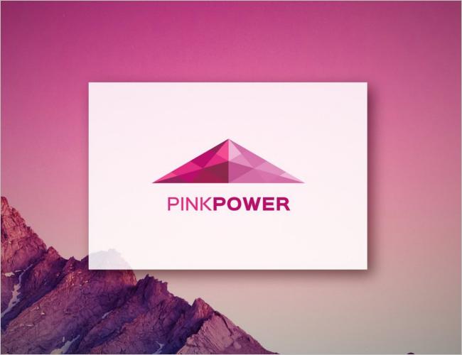 Pink Power Traingle Logo Design