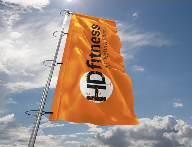 Pole Flag Mockup PSD