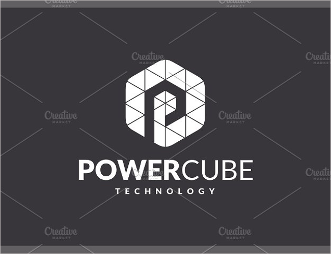 Power Triangle Cube Letter Logo