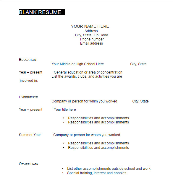 Printable Blank Resume Template