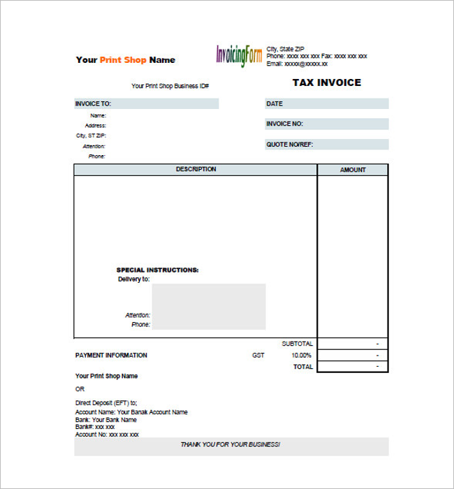 Printable Ta Invoice PDF Template