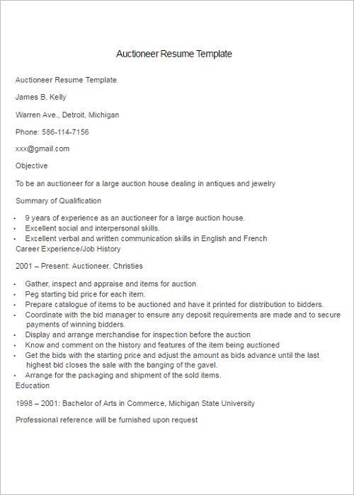 Professional Auctioneer Resume Template