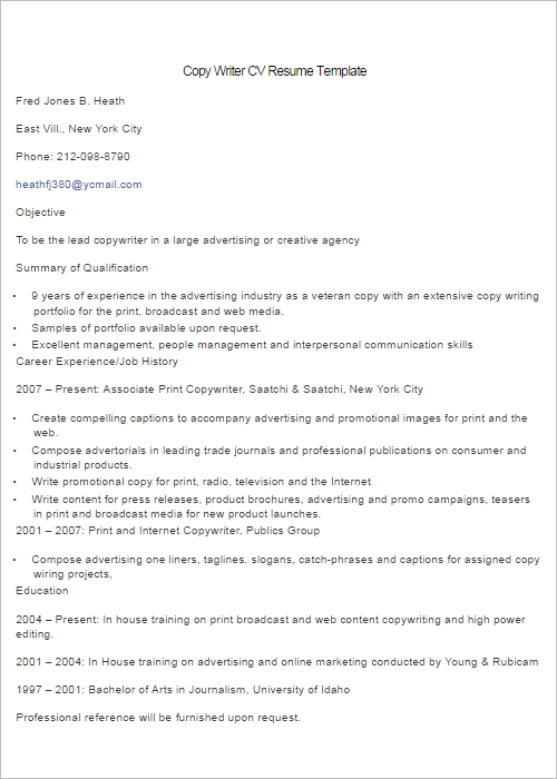 Professional Copy Write Resume Template