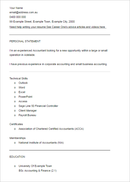 Professional Financial Resume Template