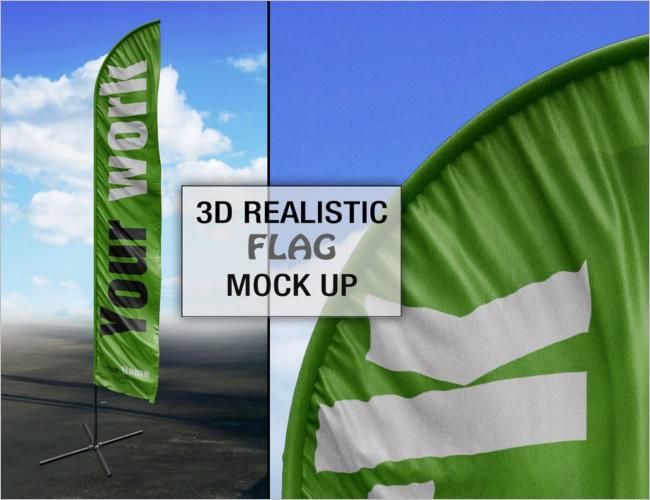 Professional Flag PSD Mockup