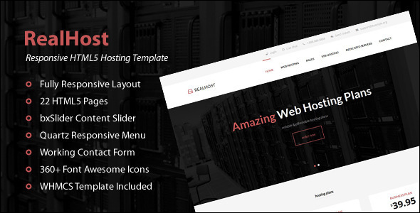 Responsive Bootstrap Website Hosting Template