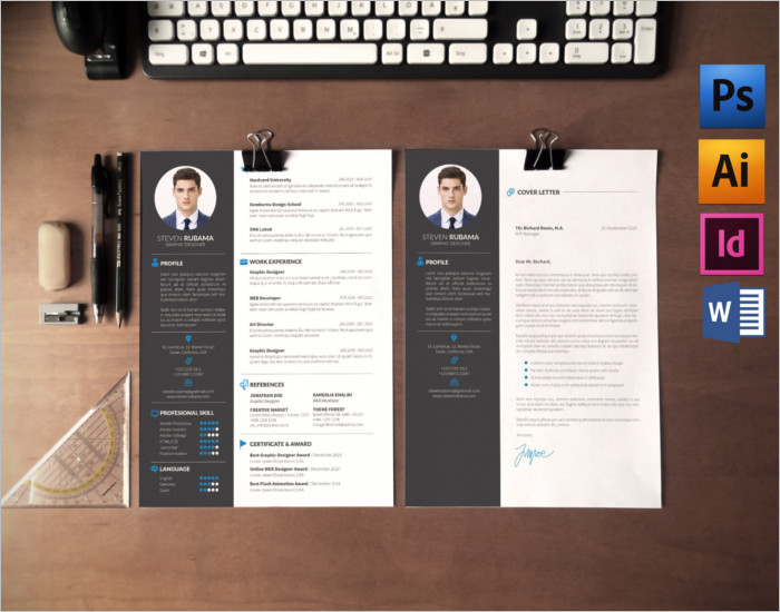 Resume Cover Letter PSD Template