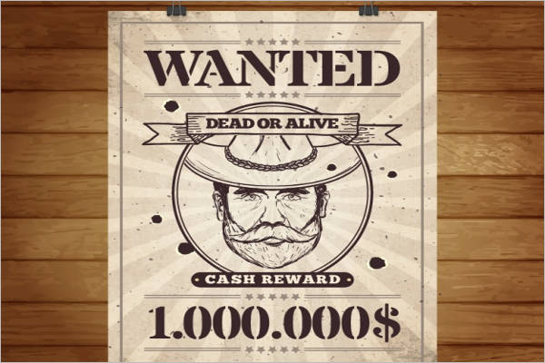 Retro Style Wanted Poster Template