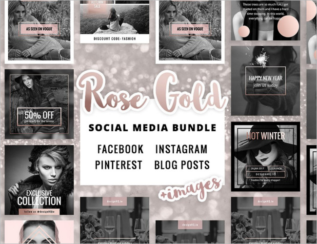 Rose Gold Social Media Banner design