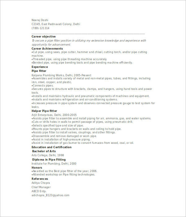 Sample Pipefitter Resume – Pipefitter Resume Samples