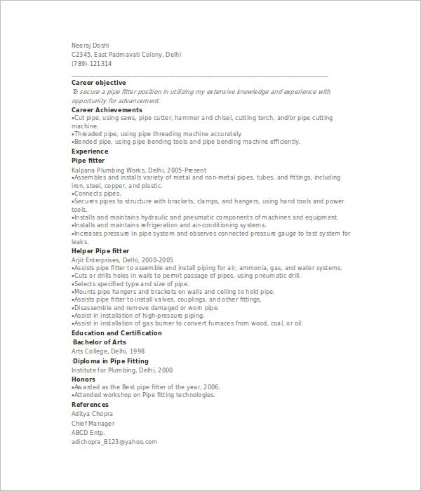 Sample Pipefitter Resume Template