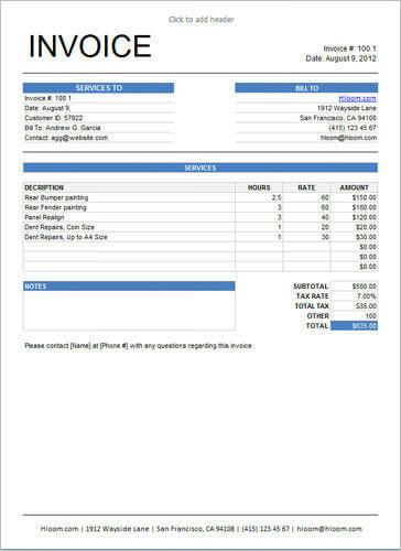 Sample-Service-Invoice