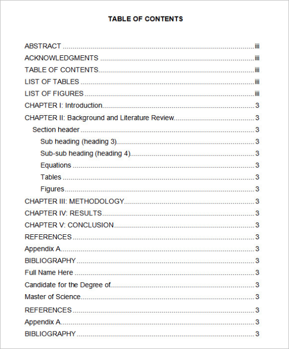 Sample Table Of Content Word