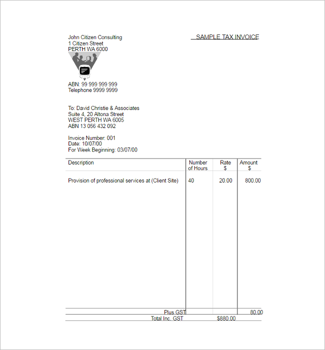 Sample Tax Invoice Excel Template