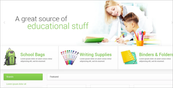 School Supplies Stationery OpenCart Template