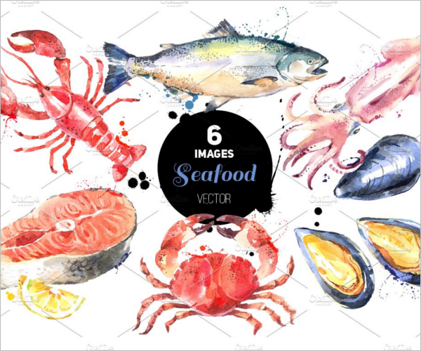 Seafood Watercolour Sketch