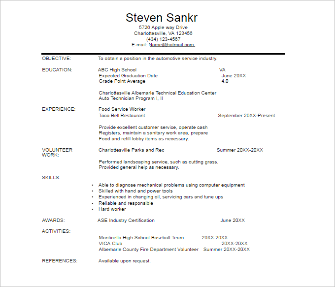 resume template simple automobile technician resume template