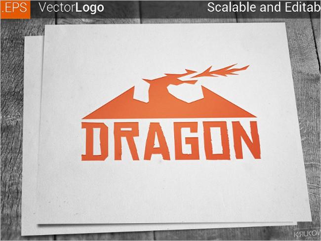 Dragon White Logo Template