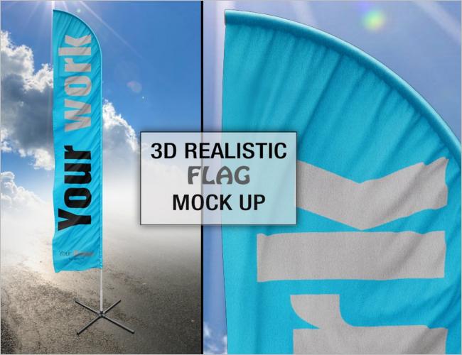 Street Flag Mock up PSD