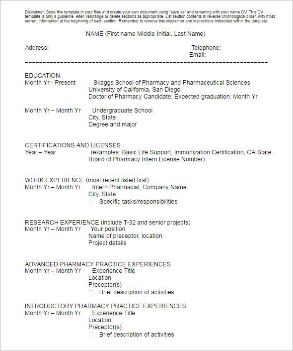Student Curriculum Resume Template
