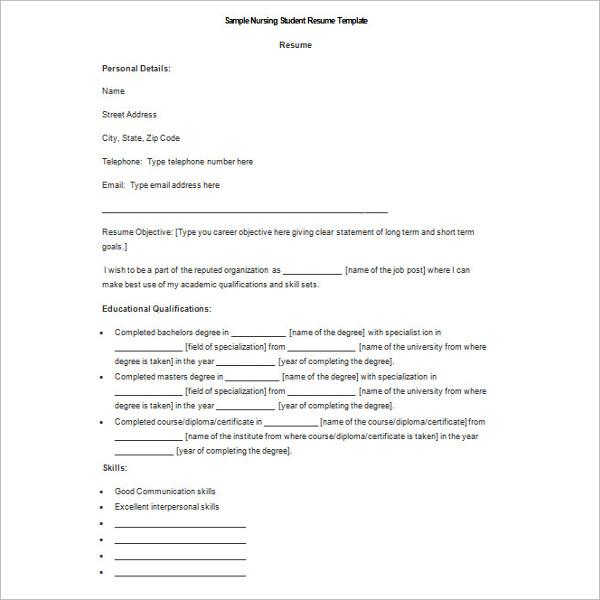 Student Resume Template Microsoft Word DOC