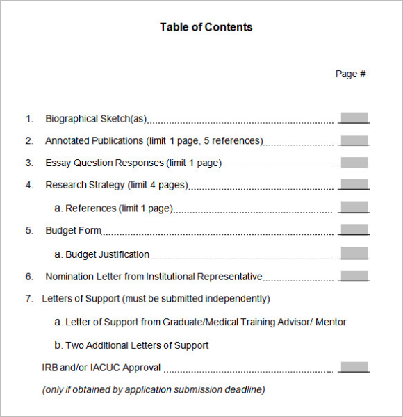 Table Of Content Doc