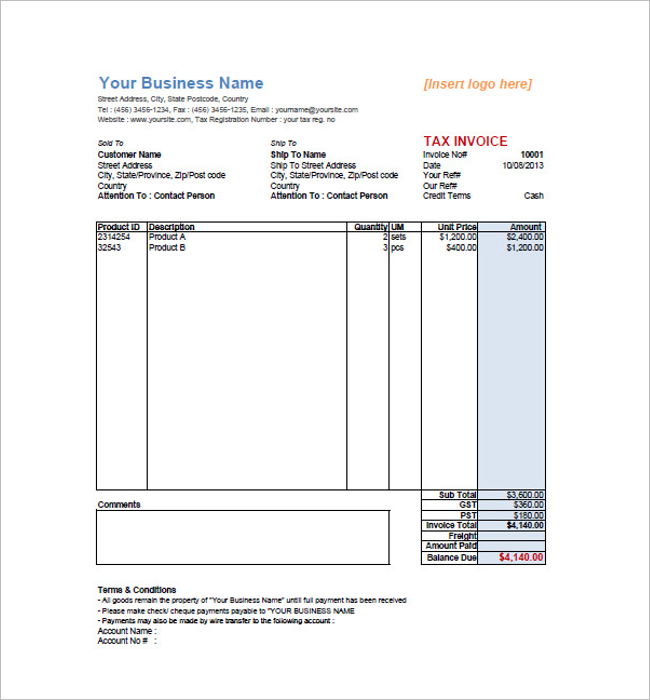 Tax Invoice Template Document