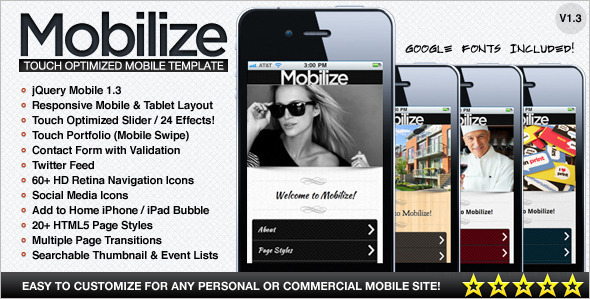 Touch Optimized Mobile Template