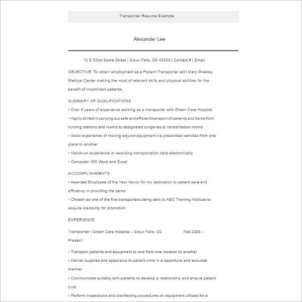 Transporter Resume Example Template